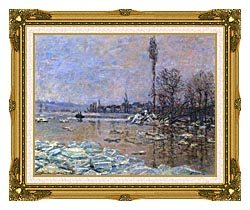Claude Monet The Ice Floes canvas with museum ornate gold frame