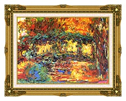 Claude Monet The Japanese Footbridge canvas with museum ornate gold frame