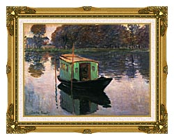 Claude Monet The Studio Boat canvas with museum ornate gold frame