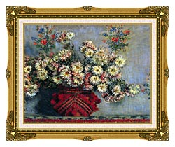 Claude Monet Vase With Chrysanthemums canvas with museum ornate gold frame