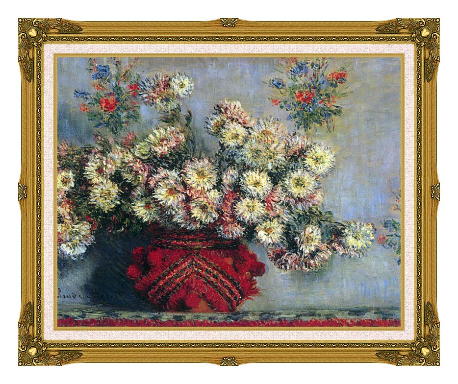 Claude Monet Vase with Chrysanthemums with Museum Ornate Frame w/Liner