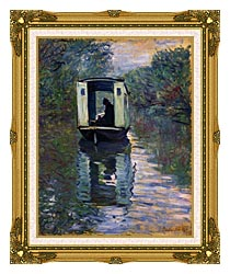 Claude Monet The Boat Studio canvas with museum ornate gold frame