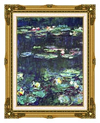 Claude Monet Green Reflection Detail canvas with museum ornate gold frame