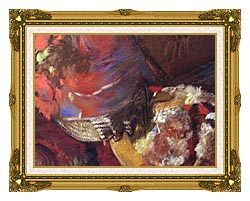 Edgar Degas At The Milliners Detail canvas with museum ornate gold frame