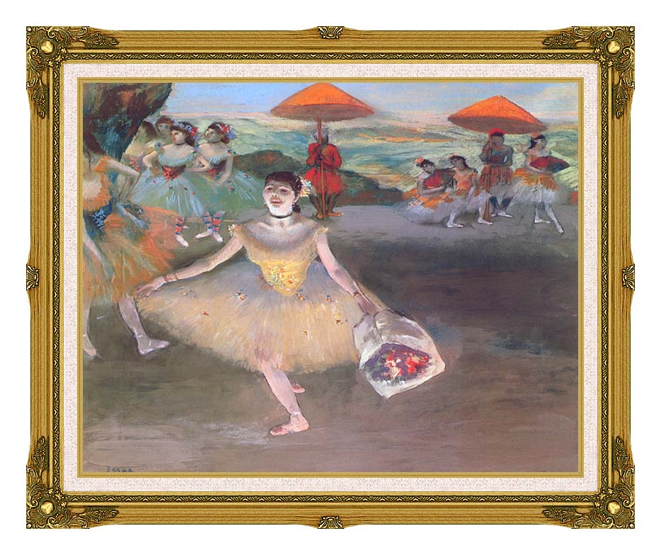 Edgar Degas Ballerina with a Bouquet of Flowers with Museum Ornate Frame w/Liner