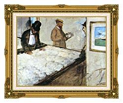 Edgar Degas Cotton Merchants canvas with museum ornate gold frame