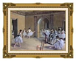 Edgar Degas Dance Foyer At The Opera In The Rue Le Peletier canvas with museum ornate gold frame