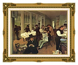 Edgar Degas Portraits In An  Office New Orleans canvas with museum ornate gold frame