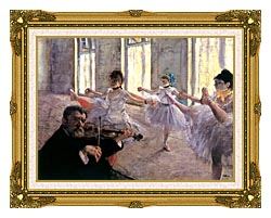 Edgar Degas Rehearsal canvas with museum ornate gold frame
