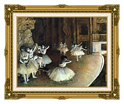 Edgar Degas Rehearsal Of A Ballet On Stage canvas with museum ornate gold frame
