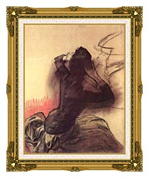 Edgar Degas Seated Woman Adjusting Her Hair canvas with museum ornate gold frame