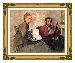 Edgar Degas Violinist And Young Woman Holding The Music canvas with museum ornate gold frame