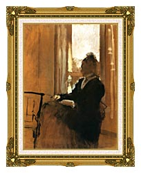 Edgar Degas Woman At A Window canvas with museum ornate gold frame