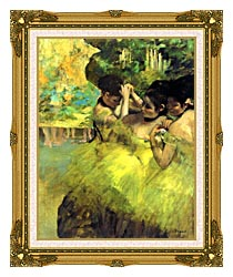 Edgar Degas Yellow Dancers In The Wings canvas with museum ornate gold frame