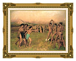 Edgar Degas Young Spartans Exercising canvas with museum ornate gold frame