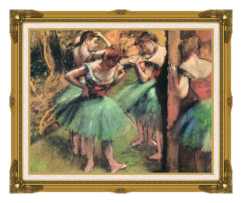 Edgar Degas Dancers, Pink and Green with Museum Ornate Frame w/Liner