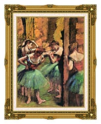 Edgar Degas Dancers In Pink And Green canvas with museum ornate gold frame