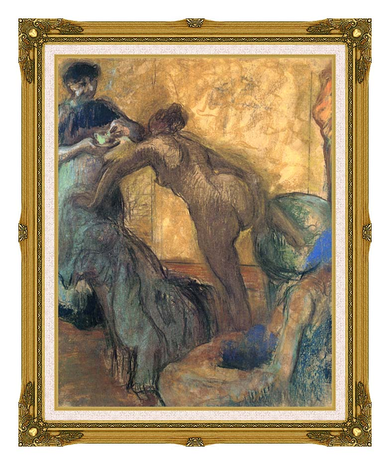 Edgar Degas The Cup of Chocolate with Museum Ornate Frame w/Liner