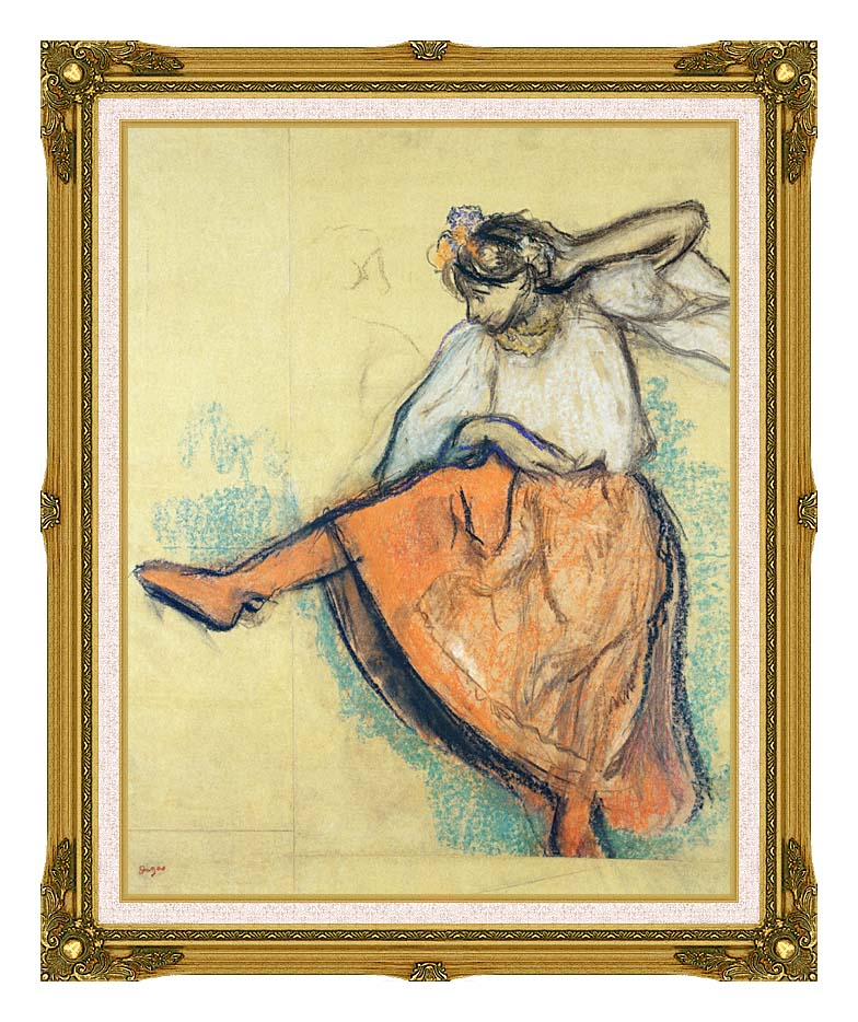 Edgar Degas The Russian Dancer with Museum Ornate Frame w/Liner