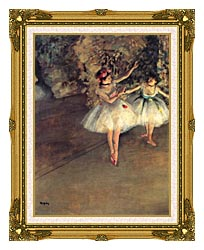 Edgar Degas Two Dancers On The Stage canvas with museum ornate gold frame