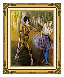 Edgar Degas Harlequin And Colombina canvas with museum ornate gold frame