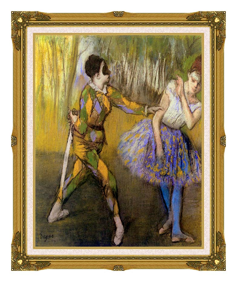 Edgar Degas Harlequin and Colombina with Museum Ornate Frame w/Liner