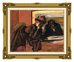 Edgar Degas The Conversation canvas with museum ornate gold frame