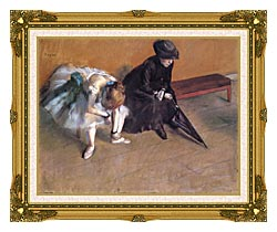 Edgar Degas Waiting canvas with museum ornate gold frame