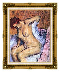 Edgar Degas Woman Sitting Drying Her Back canvas with museum ornate gold frame