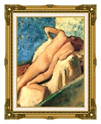Edgar Degas Nude Woman After The Bath canvas with museum ornate gold frame