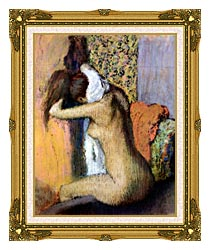 Edgar Degas After The Bath Woman Drying Her Neck canvas with museum ornate gold frame