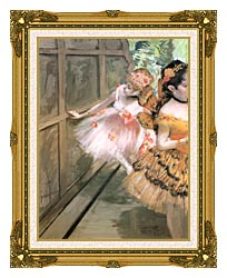 Edgar Degas Impressionist Dancers In The Wings canvas with museum ornate gold frame
