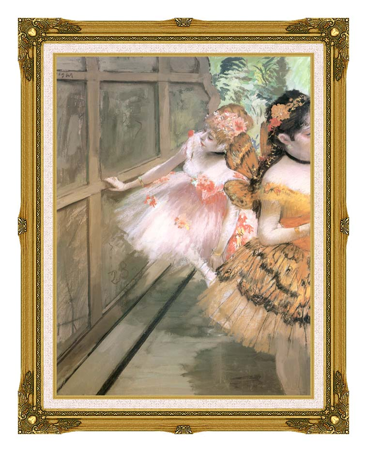 Edgar Degas Impressionist Dancers in the Wings with Museum Ornate Frame w/Liner