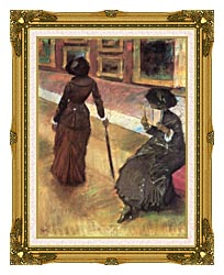 Edgar Degas Mary Cassatt At The Louvre canvas with museum ornate gold frame