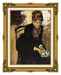 Edgar Degas Miss Cassatt Holding Cards canvas with museum ornate gold frame