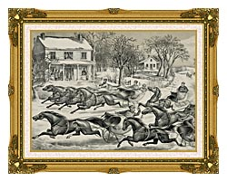Currier And Ives A Brush For The Lead   New York Flyers On The Snow canvas with museum ornate gold frame