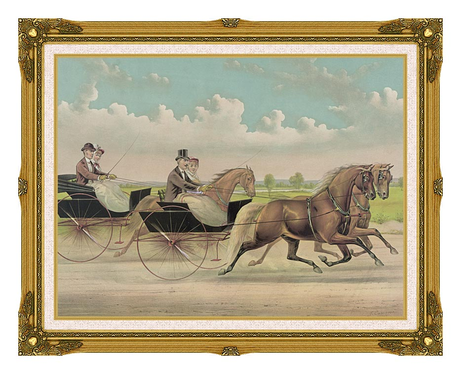 Currier and Ives A Brush with Webster Carts with Museum Ornate Frame w/Liner