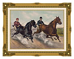 Currier And Ives A Champion Race canvas with museum ornate gold frame