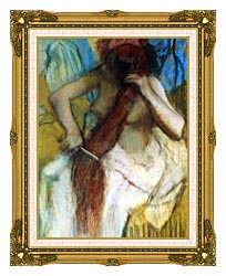 Edgar Degas Nude Woman Combing Her Hair canvas with museum ornate gold frame