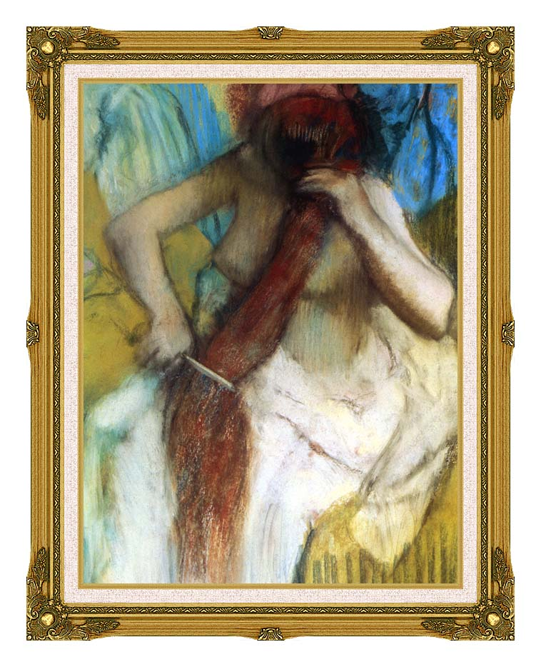 Edgar Degas Nude Woman Combing Her Hair with Museum Ornate Frame w/Liner