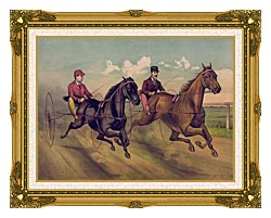 Currier And Ives A Champion Horse Race canvas with museum ornate gold frame