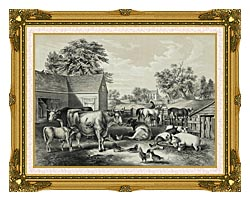 Currier And Ives American Farm Yard   Evening canvas with museum ornate gold frame