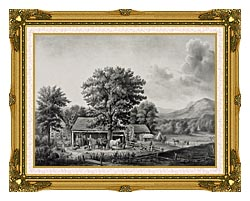 Currier And Ives Autumn In New England   Cider Making canvas with museum ornate gold frame