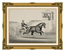 Currier And Ives Celebrated Horse Dexter The King Of The World canvas with museum ornate gold frame