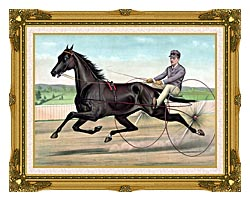 Currier And Ives Celebrated Trotter Jay Eye See canvas with museum ornate gold frame