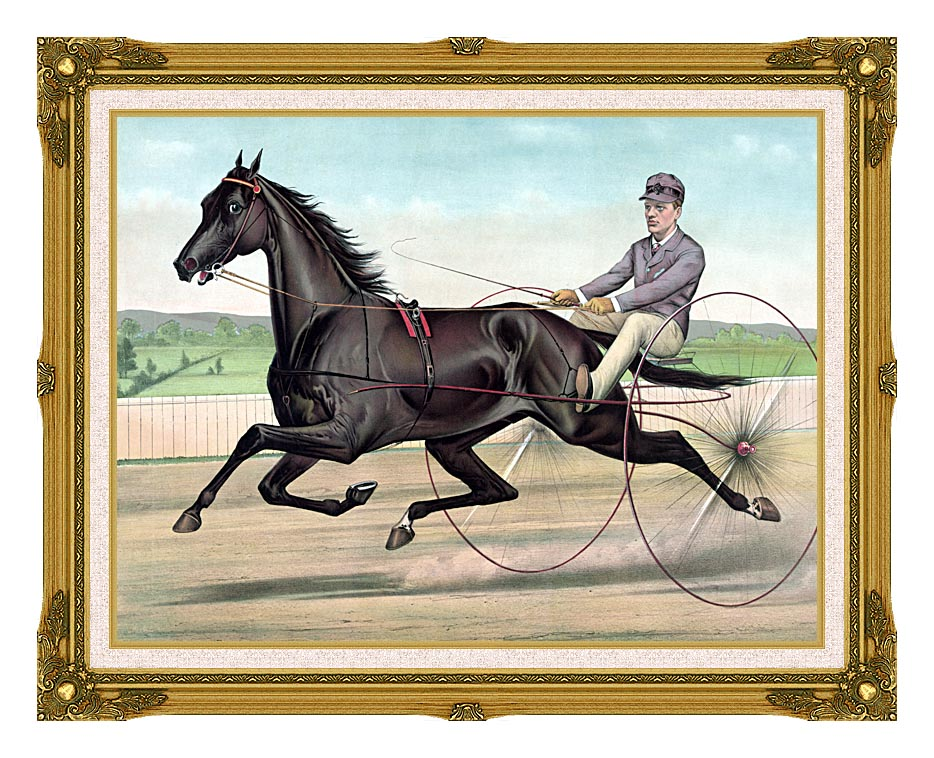 Currier and Ives Celebrated Trotter Jay Eye See with Museum Ornate Frame w/Liner