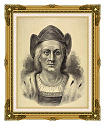 Currier And Ives Christopher Columbus Discoverer Of America canvas with museum ornate gold frame