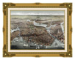 Currier And Ives City Of Boston canvas with museum ornate gold frame