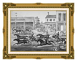 Currier And Ives Coming From The Trot   Sports On The Home Stretch canvas with museum ornate gold frame