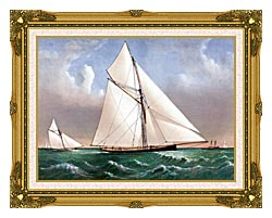 Currier And Ives Cutter Genesta RY canvas with museum ornate gold frame